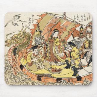 Cool japanese ukiyo-e mythical dragon ship crew mousepad