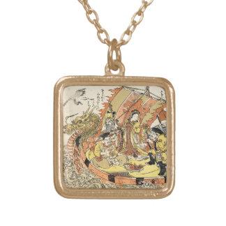 Cool japanese ukiyo-e mythical dragon ship crew personalized necklace
