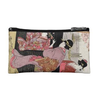 Cool japanese ukiyo-e trio geisha lady scroll cosmetic bags