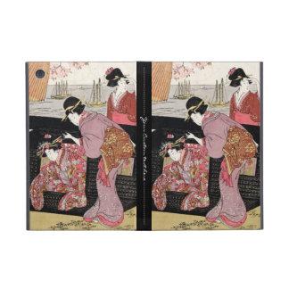 Cool japanese ukiyo-e trio geisha lady scroll cover for iPad mini