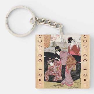 Cool japanese ukiyo-e trio geisha lady scroll Double-Sided square acrylic key ring