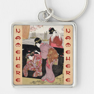 Cool japanese ukiyo-e trio geisha lady scroll Silver-Colored square key ring
