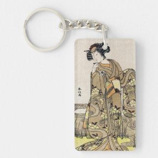 Cool japanese ukiyo-e vintage geisha old scroll Double-Sided rectangular acrylic key ring