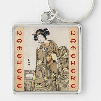 Cool japanese ukiyo-e vintage geisha old scroll Silver-Colored square key ring