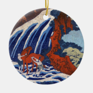 Cool japanese ukiyo-e vintage waterfall scenery christmas ornaments
