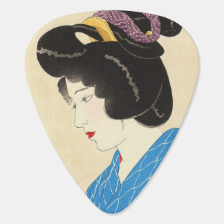 Cool japanese vintage beauty geisha lady woman guitar pick