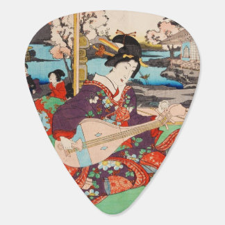 Cool japanese vintage beauty geisha lady woman guitar pick