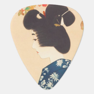 Cool japanese vintage beauty geisha lady woman plectrum