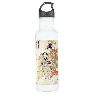 Cool japanese vintage ukiyo-e geisha and man art 710 ml water bottle