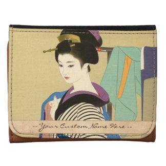 Cool japanese vintage ukiyo-e geisha classic art leather trifold wallet