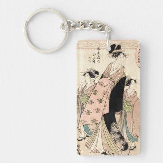 Cool japanese vintage ukiyo-e geisha ladies Double-Sided rectangular acrylic key ring
