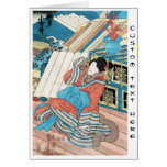 Cool japanese vintage ukiyo-e geisha lady art note card
