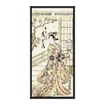 Cool japanese vintage ukiyo-e geisha lady scroll canvas print
