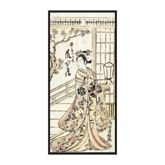 Cool japanese vintage ukiyo-e geisha lady scroll canvas