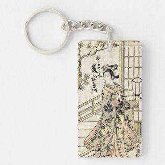 Cool japanese vintage ukiyo-e geisha lady scroll Double-Sided rectangular acrylic keychain