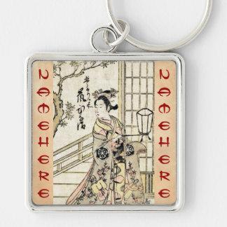 Cool japanese vintage ukiyo-e geisha lady scroll keychains