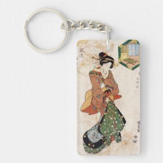 Cool japanese vintage ukiyo-e geisha lady scroll Double-Sided rectangular acrylic key ring