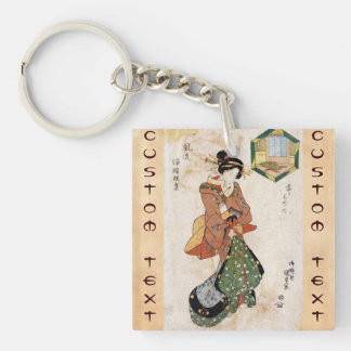 Cool japanese vintage ukiyo-e geisha lady scroll Double-Sided square acrylic keychain