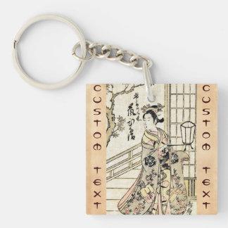 Cool japanese vintage ukiyo-e geisha lady scroll Double-Sided square acrylic key ring