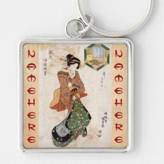 Cool japanese vintage ukiyo-e geisha lady scroll Silver-Colored square key ring