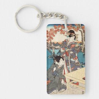 Cool japanese vintage ukiyo-e geisha old scroll Double-Sided rectangular acrylic key ring