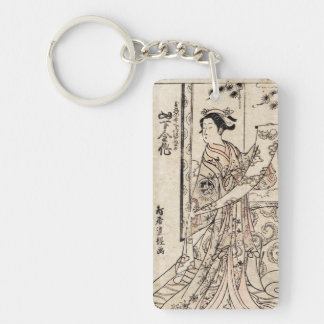Cool japanese vintage ukiyo-e geisha old scroll Double-Sided rectangular acrylic keychain