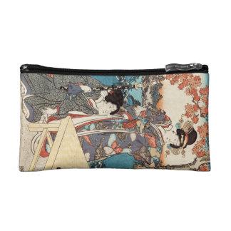 Cool japanese vintage ukiyo-e geisha old scroll makeup bags