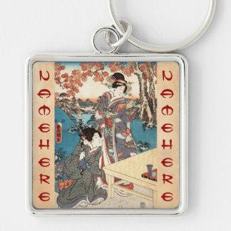 Cool japanese vintage ukiyo-e geisha old scroll Silver-Colored square key ring