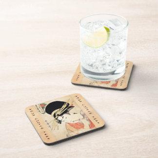 Cool japanese vintage ukiyo-e geisha portrait beverage coasters