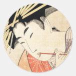 Cool japanese vintage ukiyo-e geisha portrait round stickers