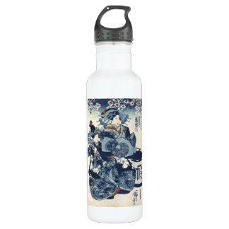 Cool japanese vintage ukiyo-e geisha scroll art 710 ml water bottle