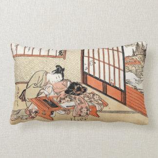 Cool japanese vintage ukiyo-e geisha scroll lumbar cushion