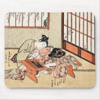 Cool japanese vintage ukiyo-e geisha scroll mouse mat