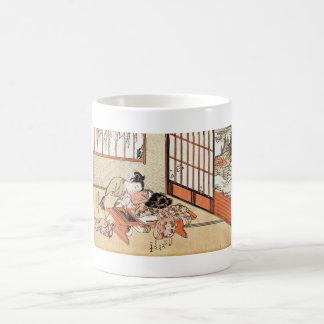 Cool japanese vintage ukiyo-e geisha scroll coffee mugs