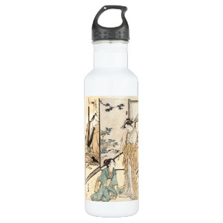 Cool japanese vintage ukiyo-e geisha scroll 710 ml water bottle
