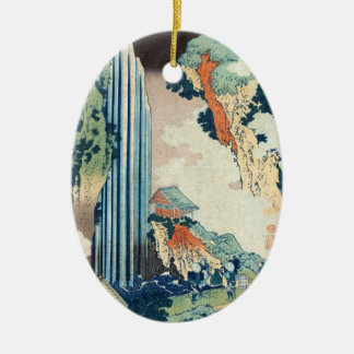 Cool japanese vintage ukiyo-e Hokusai waterfall Double-Sided Oval Ceramic Christmas Ornament