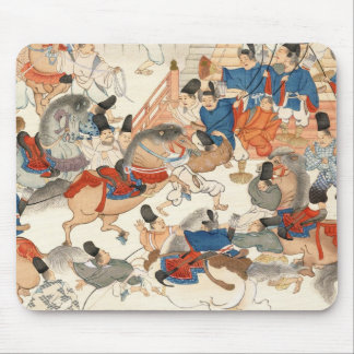 Cool japanese vintage ukiyo-e horse riders cavalry mouse pad