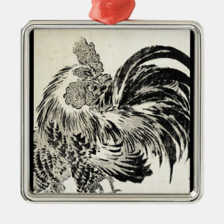 Cool japanese vintage ukiyo-e ink rooster chicken christmas ornament