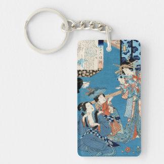 Cool japanese vintage ukiyo-e ladies and child art Double-Sided rectangular acrylic key ring