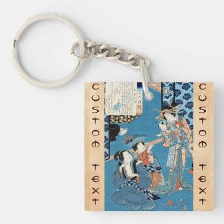 Cool japanese vintage ukiyo-e ladies and child art Double-Sided square acrylic key ring