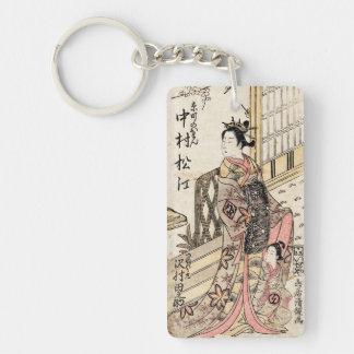 Cool japanese vintage ukiyo-e lady and child Double-Sided rectangular acrylic key ring