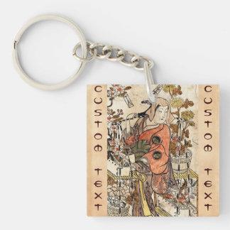 Cool japanese vintage ukiyo-e lady woman scroll Double-Sided square acrylic key ring