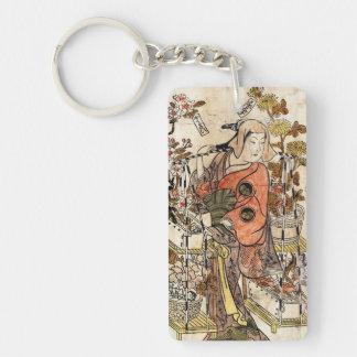 Cool japanese vintage ukiyo-e lady woman scroll Double-Sided rectangular acrylic key ring