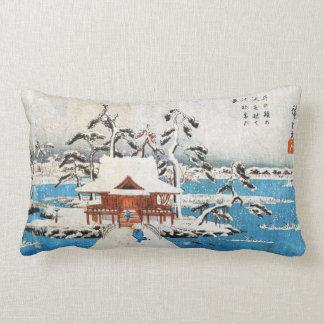 Cool japanese vintage ukiyo-e lake shrine snow lumbar cushion
