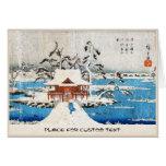 Cool japanese vintage ukiyo-e lake shrine snow note card