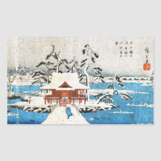 Cool japanese vintage ukiyo-e lake shrine snow rectangular sticker