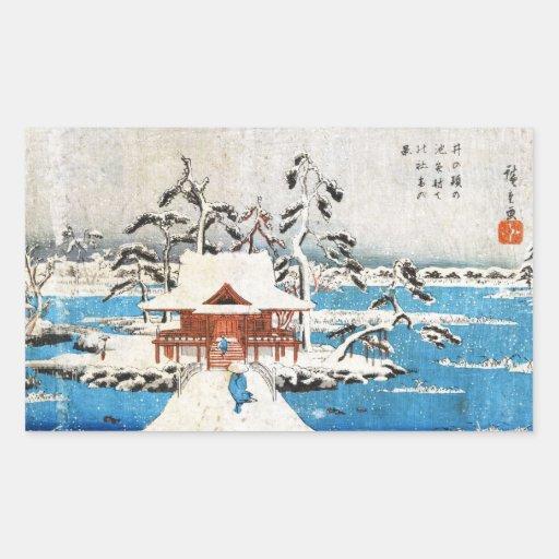 Cool japanese vintage ukiyo-e lake shrine snow rectangular stickers