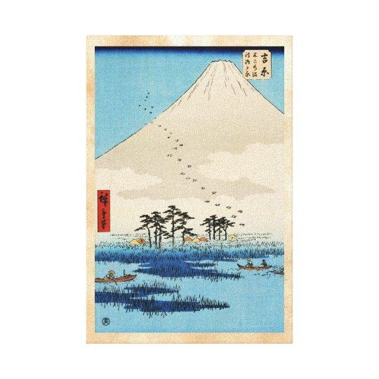 Cool japanese vintage ukiyo-e mountain Fuji view Canvas