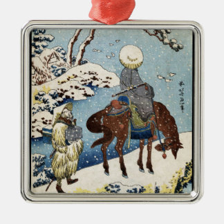 Cool japanese vintage ukiyo-e raider winter scene christmas ornament
