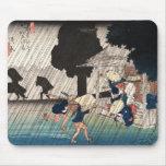 Cool japanese vintage ukiyo-e rainy day scene mousepads